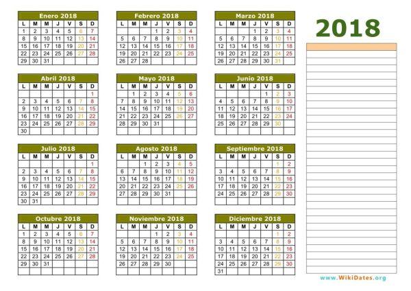 Calendario 2018 vacaciones