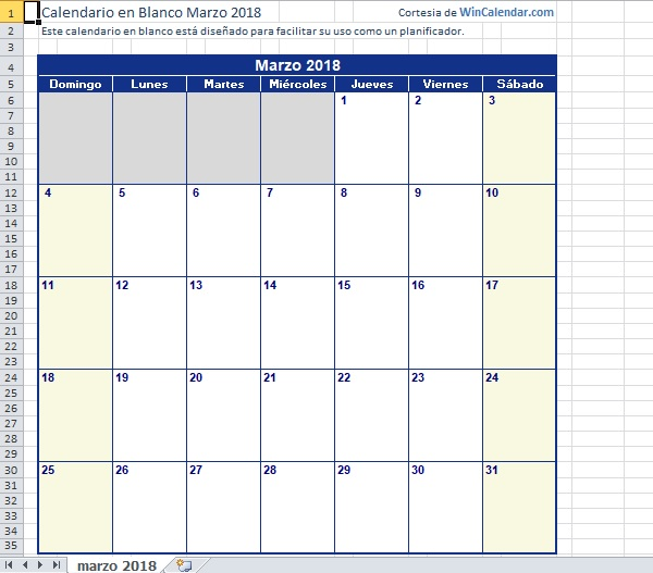 calendarios es Microsoft℗ Excel