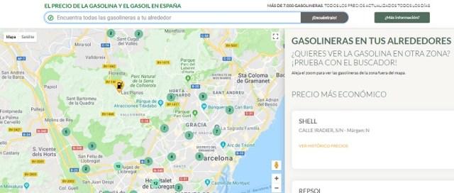 El precio(valor) de la gasolina