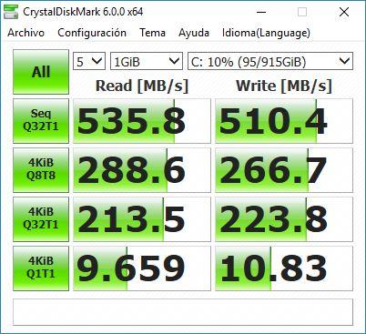 Resultados de la prueba de desempeño en CrystalDiskMark