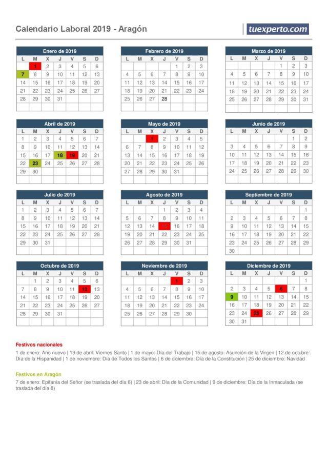 calendario laboral aragón