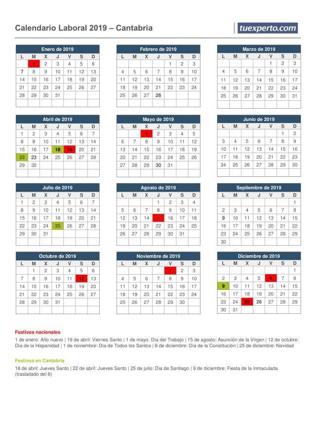 calendario laboral cantabria