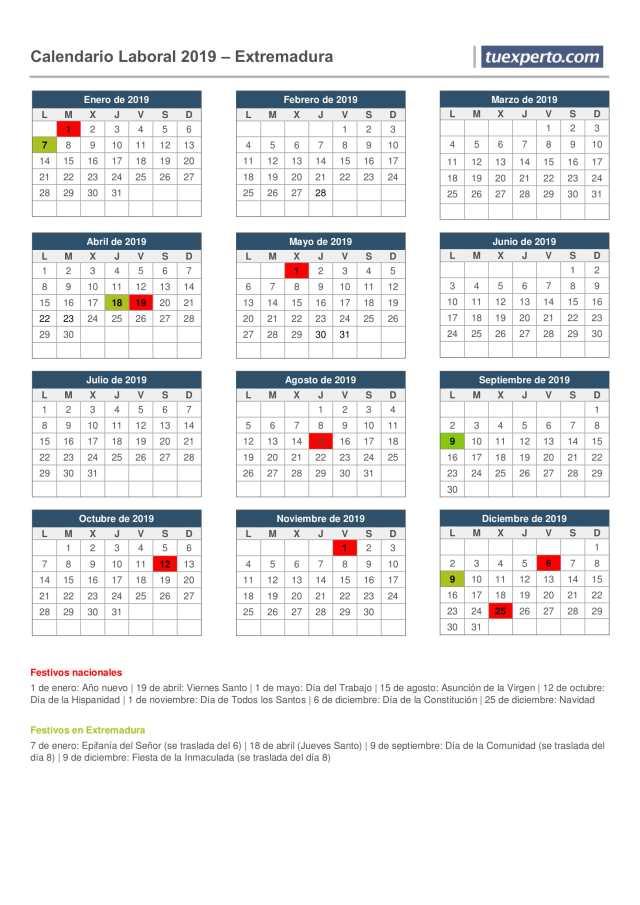 extremadura calendario laboral 2019