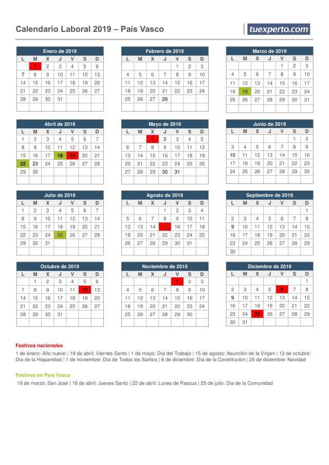 calendario laboral 2019país(nación)  vasco