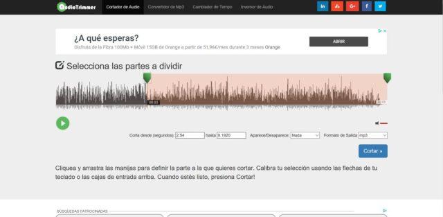 audiotrimmer cortar canciones online