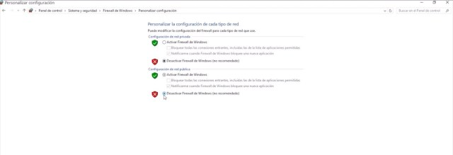 desactivar firewall de windows 10 2