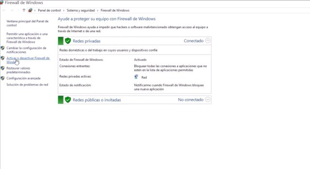desactivar firewall de windows 10