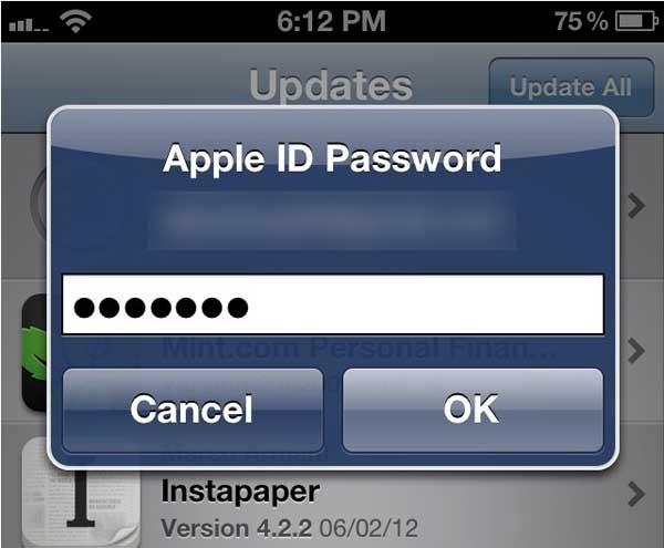 app store contraseña