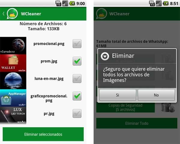 imagen de wcleaner para borrar fotos de whatsapp