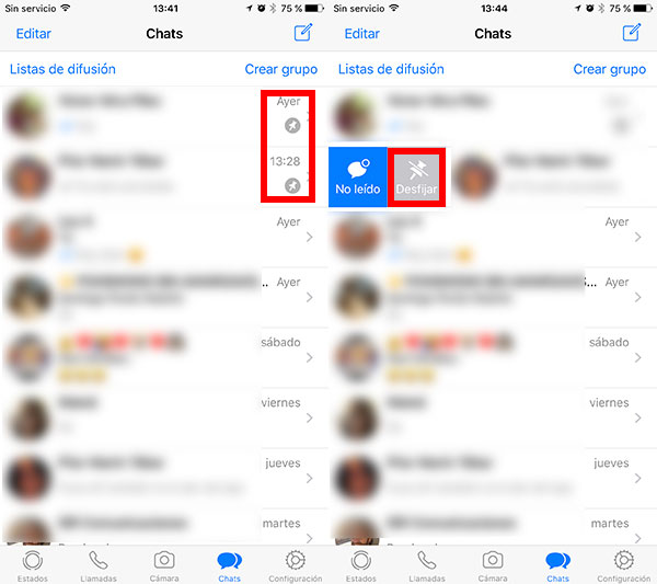 como fijar chats de WhatsApp en iPhone desfijar