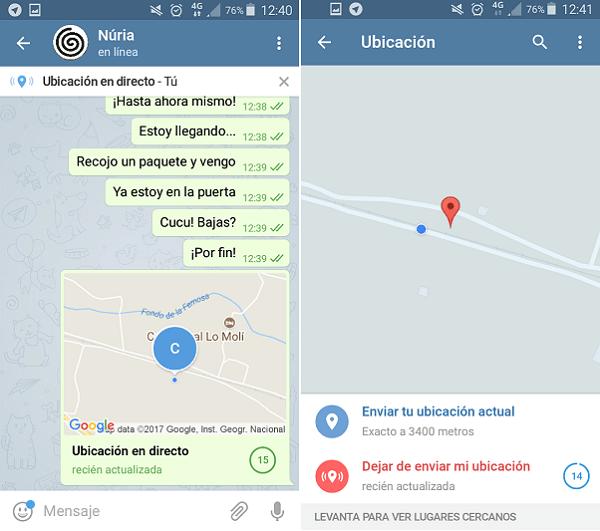 telegram ubicación en tiempo real