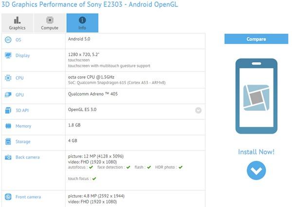 Sony Xperia E2303, nuevo móvil de Sony