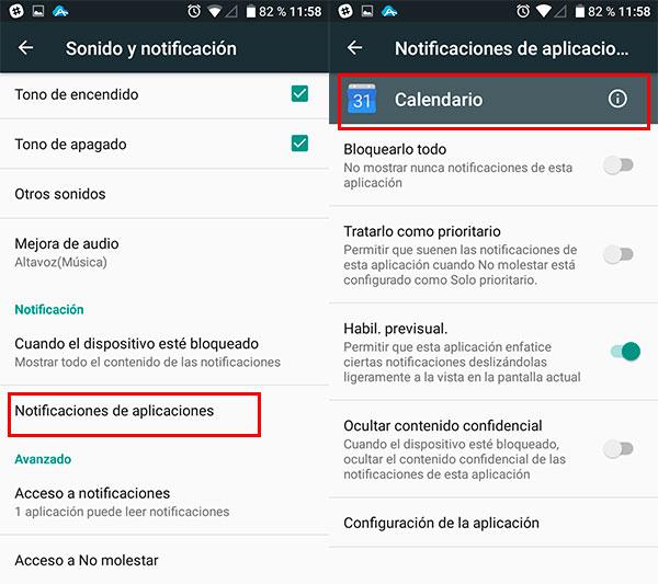 configurar notificaciones android permisos apps