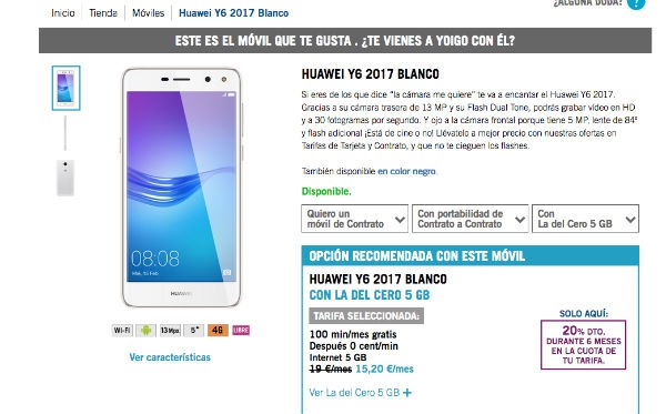 Huawei Y6 2017 Yoigo