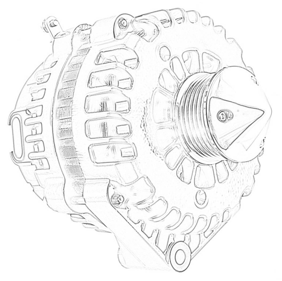 hight resolution of silver bullet alternator 225 amp oem wire 6 groove bullet pulley 4 pin voltage regulator polished 8237cpbull