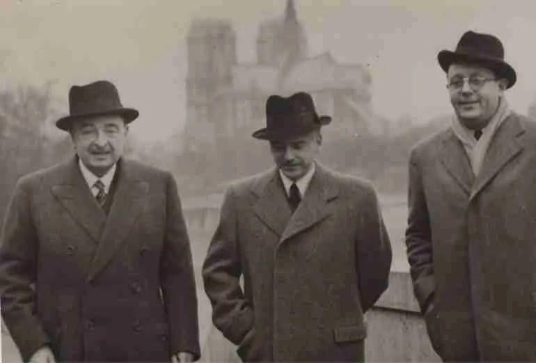 Más allá del deber / Antonio Zuloaga Dethomas, agregado de prensa en París, junto al embajador Lequerica y el ministro Serrano Suñer en una imagen entre 1939 y 1942