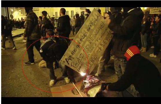 Um dos muitos infiltrados na manifestação de 14 de Novembroc
