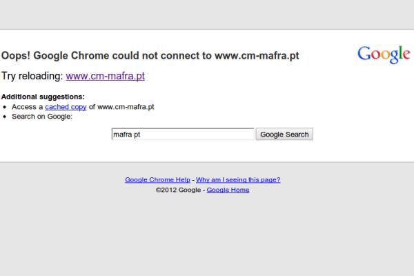 Site da CM Mafra offline em protesto contra fogo de artificio de madrugada