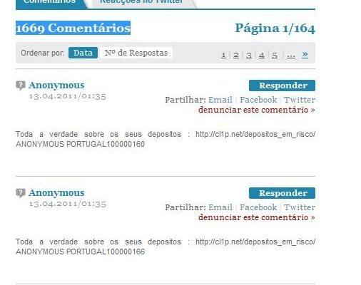 Anónimos Portugueses atacam Público e DN