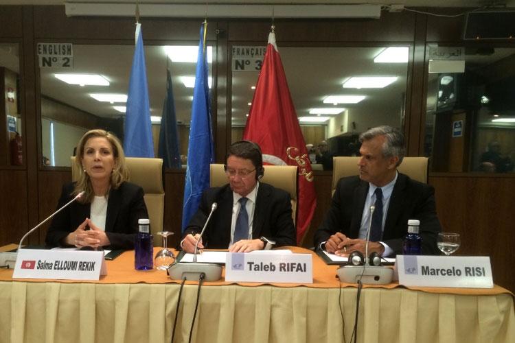 Salma Elloumi Rekik, Taleb Rifai y Marcelo Risi, responsable de Prensa de la OMT.