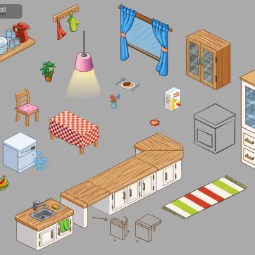 Concept Art Sketch of Kitchen