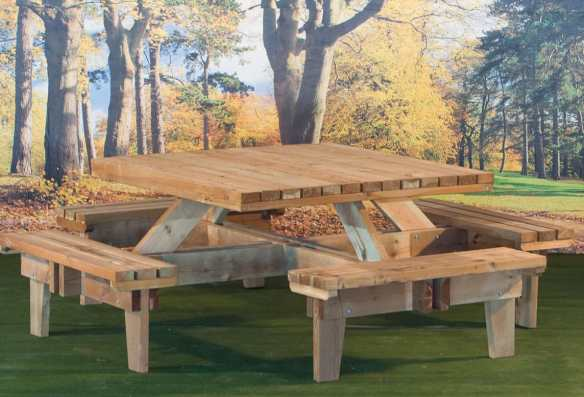 Made from FSC tanalised timber and square picnic bench for several people to sit a