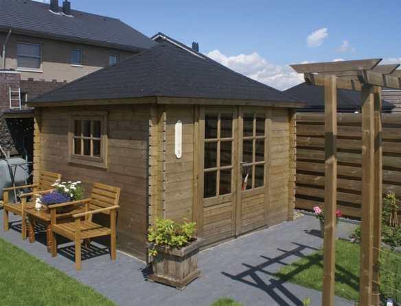 Brown pressure treated log cabin