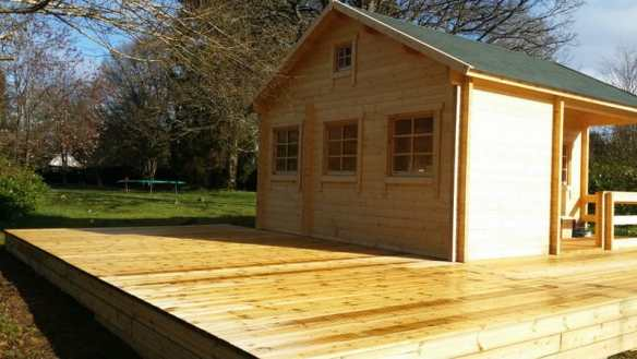 The Edelweiss log cabin and decking area now complete, finishing touches are all that is left to do