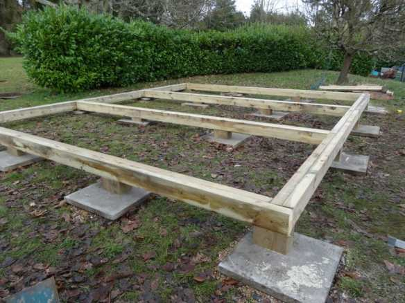 Frames are supported on concrete slabs and substantial stilts