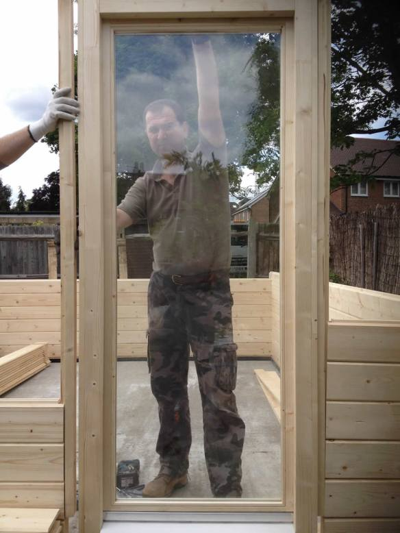 If you reach this point you will still need to add the fascias to the front and rear of the door frame to create a U section for the logs to sit in. 90% of windows are already made. This is a picture from a Bespoke log cabin.