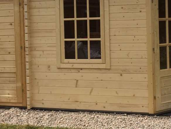 Composite foundation beams in a log cabin build