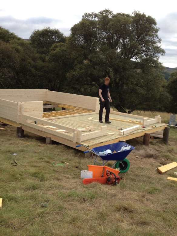 The decking area has been laid and you can see how well built the base is. The floor joists are incorporated within the build.