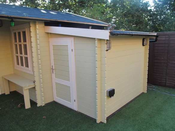 Log cabin shed extension, you can have this in two sizes in either 28mm or 45mm thick wall logs and two sizes.