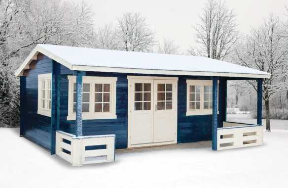 Henning log cabin with a substantial roof to withstand snow loading.