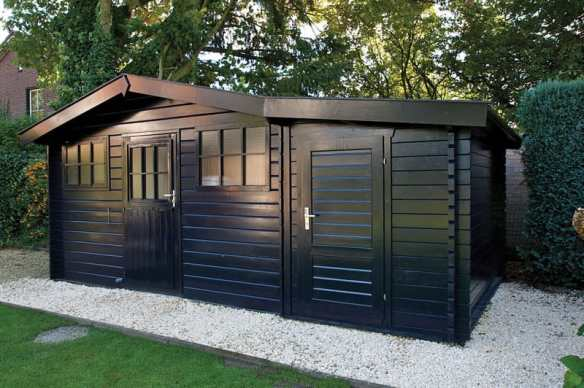 A shed extension you can add to any log cabin, we have them in 28mm or 45mm thick wall logs.