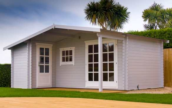 The Wolfgang log cabin which is 5.3 x 4.5 with an attached shed and porch. How long do you think this takes to install?