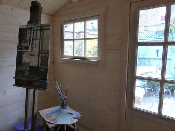 The onyx log cabin makes for a very nice artists studio.