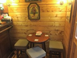 Bar stools in the Peter Log Cabin