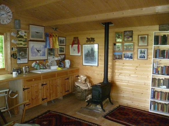 This is a picture of my Friends Henning log cabin - He now virtually lives in it much to his wifes upset.