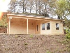 Log cabin with gazebo