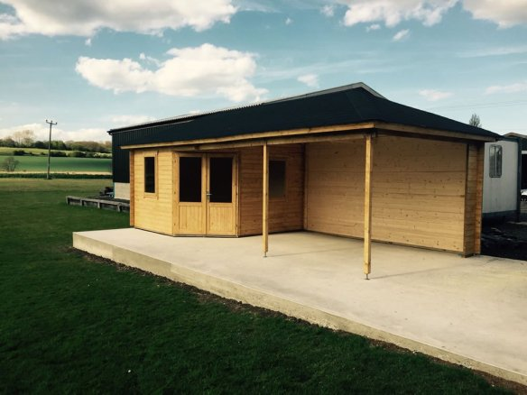 Philip also offers a base laying service, this Paiva gazebo log cabin in perfect!