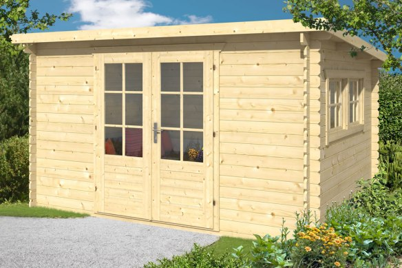 Royal pent log cabin in Tanalised Green. A Bargain while stocks last. Measuring 3.8 x 3.0m in 28mm wall logs.