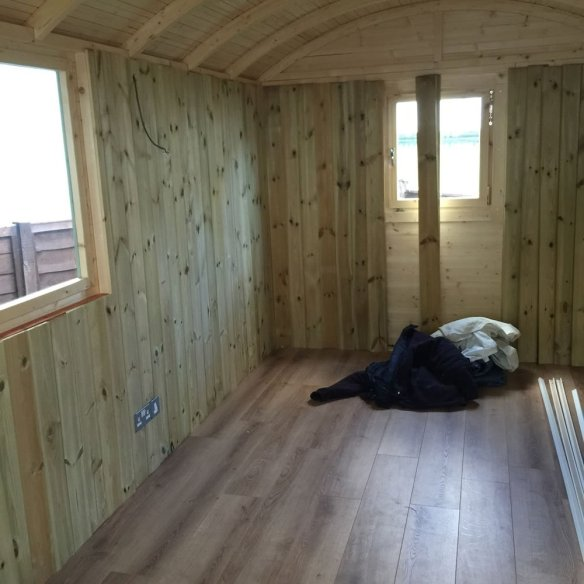 Timber clad lining is being fitted