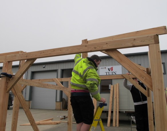 The opposite end of the gazebo fitting the second set of corner rafters. Again we are using a prop.