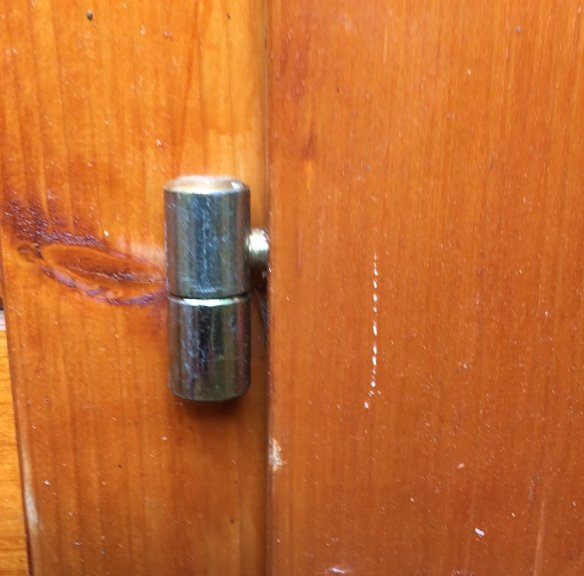 Two piece hinge forming a cup and spiggot. These can adjust the door in both planes.