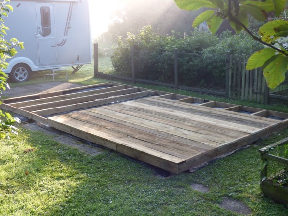 Decking boards are used on top of the timber frame