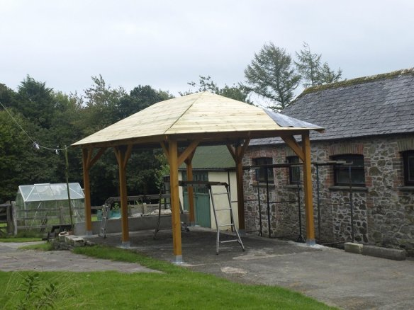 Superior gazebo roof boards being fitted.