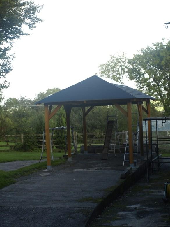 Gazebo roof shingles install
