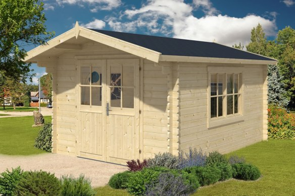 Lulea 34mm 3.0m x 4.0m Log Cabin with a double opening window which can be placed in either wall as required.