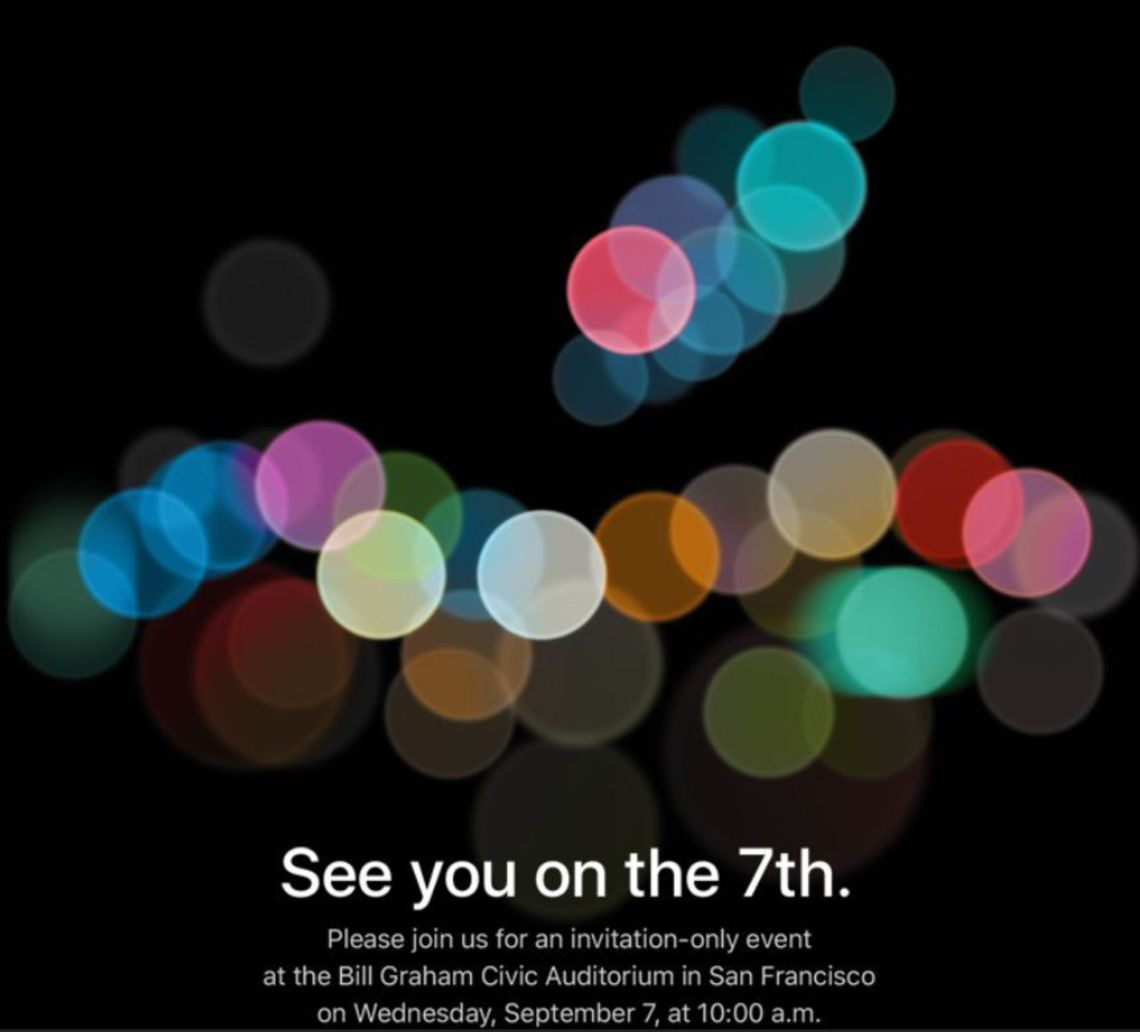 L'invitation à la keynote Apple du 7 septembre 2016, durant laquelle Tim Cook dévoilera l'iPhone 7